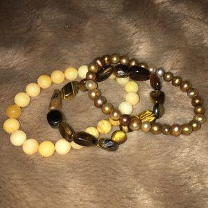Three stretch stone beaded bracelets